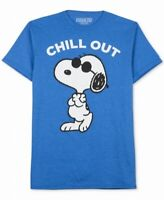 Peanuts Mens Shirt Blue Size Medium M Snoopy Chill Out Graphic Tee $24 #119
