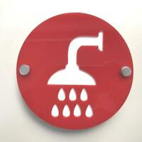 Round Shower Sign - Red & White Gloss Finish & Chrome Fixings
