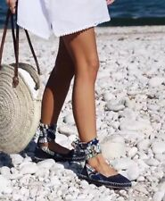 ZARA en Cuir à Lacets Espadrilles bleu marine à motifs ref 1342/201 Taille 5 BNWT