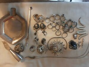 203+ Grams of Sterling Silver Mostly Jewelry All is Wearable No Missing Stones