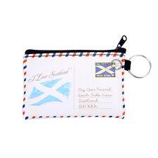 Scottish I Love Scotland cartolina da Viaggio Portachiavi Piccola Scheda Portamonete Borsetta con zip
