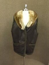 Sporty Fall Winter Coat BROWN LEATHER & RACCOON FUR VEST Sz L Outdoors Casual