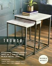 New Tromso Range Modern Set Of 2 Marble Effect Nest Of Table With Metal Frame