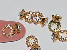 1 Pc Miniature TINY little crystal engagement wedding Ring Pendant charm 7x10mm