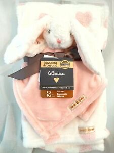 Blankets & Beyond Collection 2pc Gift Set, White Bunny **BRAND NEW**