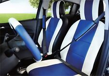 UNNIE UNIVERSAL WHITE/BLUE FRONT SEAT COVERS STEERING WHEEL & 2 SEAT BELT COVERS