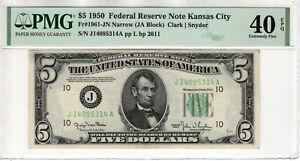 1950 $5 FEDERAL RESERVE NOTE KANSAS CITY FR.1961-JN NARROW PMG XF 40 EPQ(314A)