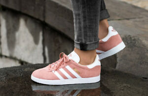 Adidas Originals Gazelle Pink White Gold Women 8.5 Shoes Sneakers Trainer CQ2186