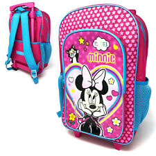 Disney Minnie Mouse Deluxe Trolley Backpack Cabin Bag Kids Girls Suitcase Cute