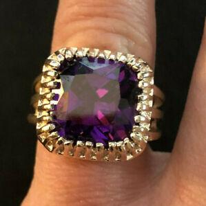 Amethyst Ring Purple CZ Cushion Cut 5 Carats Rhodium Plated 13mm Sz 5 #1106