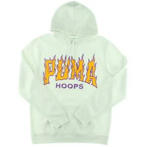 Puma Mens Hoops White Fitness Running Hoodie Sweatshirt Athletic S BHFO 3190