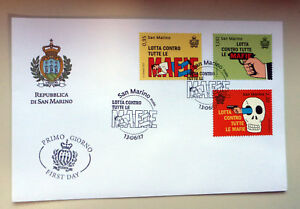 2017 SAN MARINO AGAINST MAFIA 3 STAMPS FIRST DAY COVER