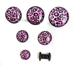 Acrylic Pink Leopard Print Stash Screw fit ear plug stretcher taper 5mm-16mm