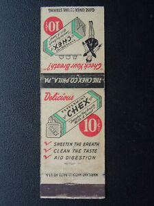 Matchbook Cover CHEX PEPPERMINT - SWEET BREATH The Chex Co. Philadelphia c1940's