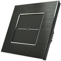 Lichtschalter Touchscreen Alurahmen Steckdose Wechselschalter Glas Schwarz 800