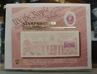 BEP souvenir card B 118 Stampshow 1988 block 1938 3c Constitution Ratification