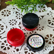 12 Cute Mini RED JARS .25oz Black Cap wax Container balm RX stash wax 1/4oz USA