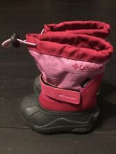TODDLER COLUMBIA WATERPROOF PINK / GRAY SNOW BOOTS SIZE 7 RUBBER REMOVABLE LINER