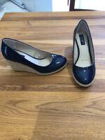 New Principles By Ben De Lisi Size 4 Navy Blue Patent Espadrille Court Shoes
