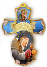 Wooden Wall Cross - Padre Pio - MADE IN ITALY, 6 inch