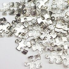 Autism Puzzle Piece Charms Awareness Aspergers Textured Silver Lot of 10