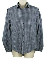 DKNY Men's Long Sleeve Slim Fit Gray Plaid Button Up Cotton Shirt Collar Size 16