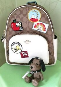 COACH X PEANUTS COURT BACKPACK SIGN. W/PATCHES &/or SNOOPY BAG CHARM:NWT C4115