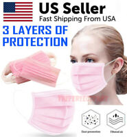 50 PCS Face Mask Pink Surgical Dental Disposable 3-PLY Earloop Mouth Cover Color