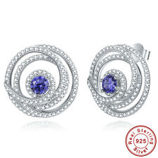 Free Jewelry Box Gift Round Cut Tanzanite 100% 925 Sterling Silver Stud Earrings