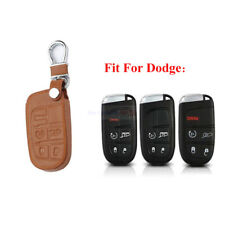 For Jeep Dodge Chrysler 5 Button Brown Remote Fob Bag Leather Car Key Cover Case