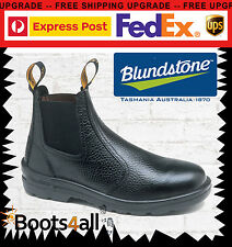Blundstone Mens Work BOOTS Safety Steel Toe Black Rambler Leather Slip on 330 Aus/uk 8.5 - US 9.5