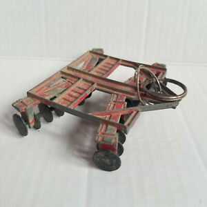 Vintage Metal Red Toy Tractor Disc Harrow Attachment - 4in x 3.5in x 1in