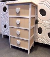 Wood White Chest of Drawers Storage Unit Shabby Chic Cabinet Heart Bedside