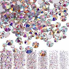 3456 Pcs Nail Crystals Ab Nail Art Rhinestones Round Beads Flatback Glass Mixed