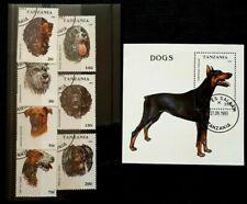 1993 Tanzania Full Set of 7 & Souvenir Sheet - Dogs - Pre Cancel MNH