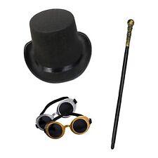 Unisex Steampunk Costume Set (Top Hat, occhiali e CANNA)