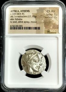 440- 404 BC SILVER ATTICA TETRADRACHM ATHENA OWL NGC CHOICE ABOUT UNC 5/3