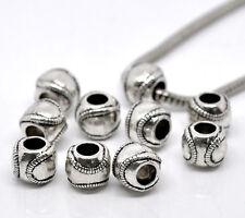 20Pcs Silver Tone Baseball Beads Fit European Charms Bracelets Jewelry 11x9mm