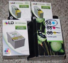 New Lot o 4 Ink Cartridges Color LD-TOO9201, 2 Black LD-TOO7201 & 1 HP Cyan Blue