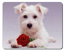 West Highland Terrier with Rose Computer Mouse Mat Christmas Gift Idea, AD-W7RM
