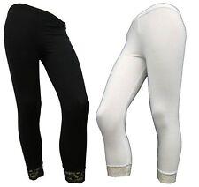 Ladies Womens Bottom Lace 3/4 Cropped Leggings Trouser Pants PLUS SIZES S - XXXL