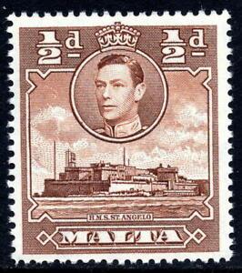 MALTA 1943 SG218a. KGVI ½d. RED-BROWN HMS ST. ANGELO  -  MNH