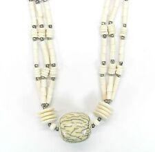 NEU 70cm HALSKETTE Bone Kette KNOCHENKETTE mit PERLEN in natur/creme