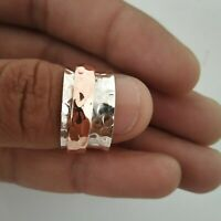 Spinner Ring,925 Sterling Silver Wide Band & Copper Ring Handmade All Size P-17