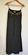 Cache Size 10 Black Spaghetti strap dress with floral embroidered top