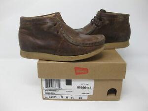 Clarks Orginals Wallabee Chukka Kids Boots Brown Oily Sz 9