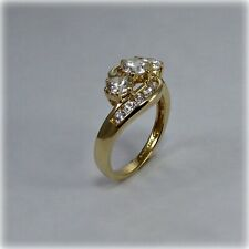 14ct Gold Three Stone Crossover Cubic Zirconia Ring