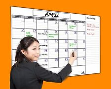 """USI Jumbo Dry Erase Wall Calendar, 36""""x60"""", NEVER LEAVES MARKER STAINS!"""