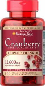 Puritans Pride Cranberry Triple Strength 12600mg Urinary Immune Support 100 gels