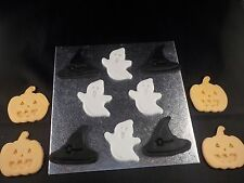 Halloween Cake or Cupcake Toppers Ghost Pumpkin Witches Hat set of 12